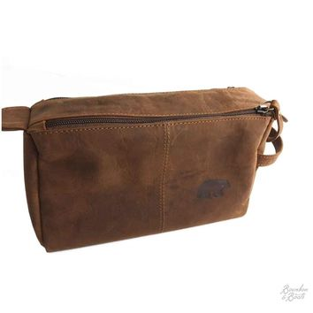 Handcrafted Small Buffalo Leather Toiletry Bag