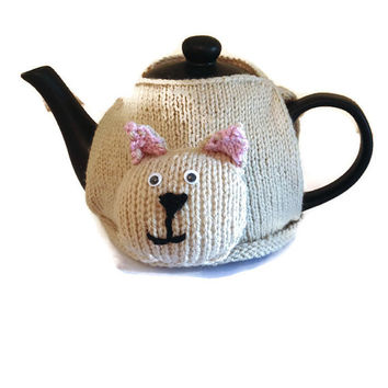 "The ""Casey"" Cat Tea Cozy, Knitted, Hand Made, Medium 4-6 Size Teapot, Cat Gift, Animal Tea Cozy, Animal Gift"