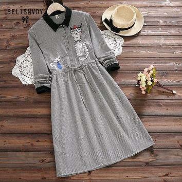 Mori Girl Robe Femme 2017 Spring Autumn Plaid Cotton Linen Dress Women Long Sleeve Embroidery Drawstring Waist Vintage Dresses