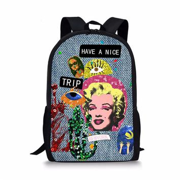 Cool Backpack school FORUDESIGNS Classic Girls Skull Backpack Cool Printing Marilyn Monroe Backpack for Middle School Girls Vintage Kids Bagpack AT_52_3
