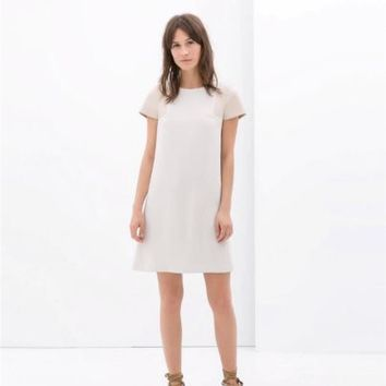 ZARA CREAM OFF WHITE BONE SHIFT DRESS W/ FAUX LEATHER SLEEVES L LARGE 2556/367