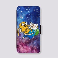 Leather Card Slot Phone Cases for Samsung Galaxy S4 Case Adventure time