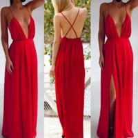 deep V dress back crossing perspective female night long and even clothing bandage dress