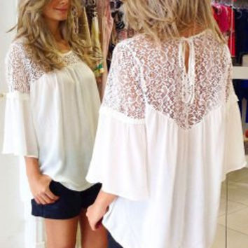 White Cut-Out Blouse