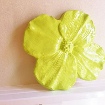 Large Flower Wall Sculpture,Green flowers, modern minimalist decor