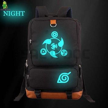 Anime Backpack School kawaii cute Naruto Luminous Backpack Sharingan Naruto Canvas School Bags Women Men Laptop Backpack Large Capacity Travel Shoulder Bag AT_60_4