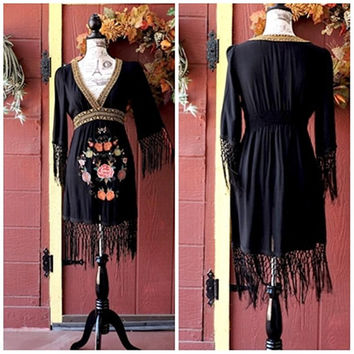 Boho festival dress / black fringed bohemian dress / black kaftan dress /  embroidered hippie dress /  boho beach dress / size M