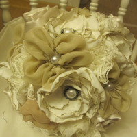 Fabric flower bouquet beautiful handmade custom bridal bouquet alternative wedding bouquet everlasting