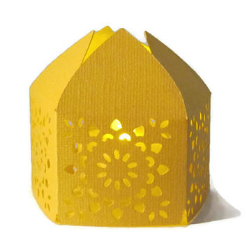 Yellow Handmade Moroccan Middle Eastern Paper Wedding Lantern with LED Battery Tea Light Candle  Event Decor - Party Favor - Lighting