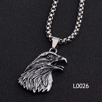 Summer Men's Silver Cool Spiderman Eagle Skull Hand Pendant Stainless Steel Necklace Alloy Accessories Jewelry Necklace& Pendant