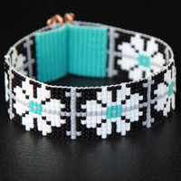 Black, White, Turquoise Floral Bead Loom Cuff Bracelet - Native American Style Beaded Jewelry - Flowers - Beadweaving - Southwestern
