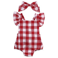 Newborn Infant Kids Baby Girl Red Plaid Romper Jumpsuit  With Headband Outfit Clothes