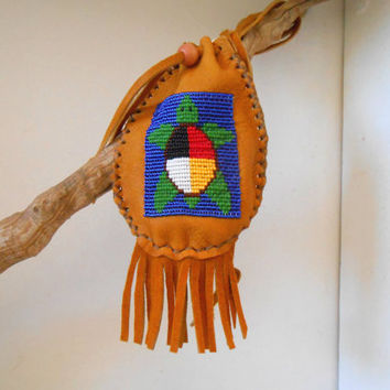 Beaded Medicine Bag, Handmade to Order, Sacred Medicine Wheel Turtle Design, Hand Sewn, Native American, Powwow, Regalia, Drawstring Pouch