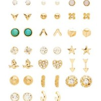 Gold Assorted Stud Earrings - 20 Pack by Charlotte Russe