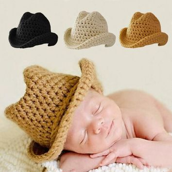 Cute Baby Boy Girl Hat Photography Props Knit Bonnet Newborn Cute Hats for New Born Photo Pros Fedoras FJ88