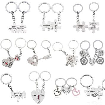 "2 Pcs/Set Puzzle Letter ""You're My Person"" Couple Keychain Lovers BBF Key Chain Holder Love Heart Best Friends Christmas Gifts"