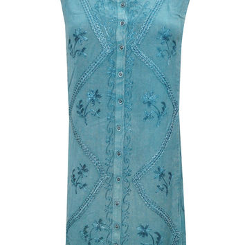 Peasant Shift Dress Blue Stonewashed Rayon Embroidered Sleeveless