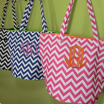 Monogrammed Chevron Everything Tote