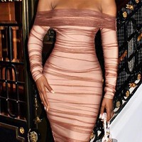 Fashionable women's dress with hip wrap skirt and sexy bodice