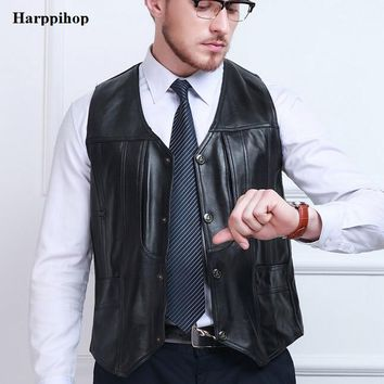 2017 Autumn Winter Black Genuine Leather Vests Sleeveless Leather Jacket Men Sheepskin V-Neck Single Breasted Thin Vest