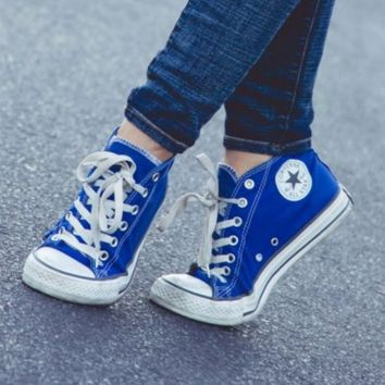 """Converse"" Fashion Canvas Flats Sneakers Sport Shoes Low tops Blue"