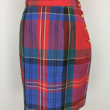 Ralph Lauren Plaid Skirt Short Skirt Pencil Straight Skirt Short Plaid Skirt Preppy School Girl Summer Size 10 Skirt Medium Womens Clothing