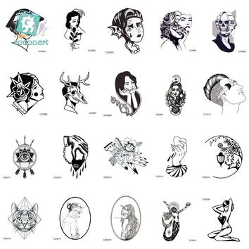 Rocooart CCSEX1 Vintage Old School Style Kitty Cat Head Women Skull Mask Temporary Tattoo Sticker Body Art Fake Taty