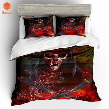 2/3Pcs 3D Silver Skull AXes Bedding Set With Pillowcases Duvet Cover Quilt Cover For Kids Queen King Sizes Bedspreads Sj234