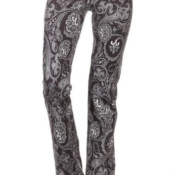 Charcoal Paisley Lace Waist Yoga Pants