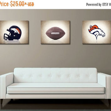 Weekend Sale Discount set of 3 Denver Broncos photo print,boys room decor,kids room decor,denver Broncos,football decor,Broncos decor,footba