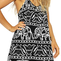 Black Cami Dress With Elephant Print