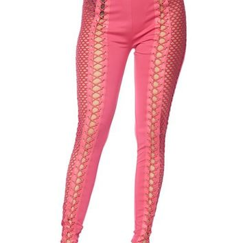 Bubble Gum Lattice Fishnet Leggings
