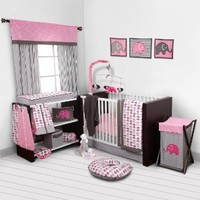 Elephants Pink/Grey 10 pc Crib Set Bumperfree