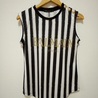 """Balmain"" Women Fashion Classic Letter Multicolor Stripe Print Vest Buttons Decoration Sleeveless T-shirt Tops"