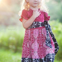 Girls Navy and Berry Twirl Dress - Sizes 12MO - 10