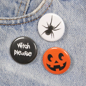 Jack O Lantern Face 1.25 Inch Pin Back Button Badge