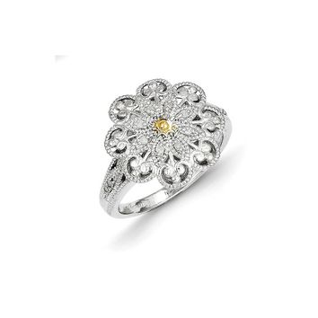 Antique Style Sterling Silver with 14k Gold 1/20ct Diamond Vintage Ring