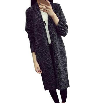 Women Crocheted Cardigan 2017 Autumn Winter Long Sleeve Loose Knitting Sweater Casual Pockets Long Cardigan Knitted #VE