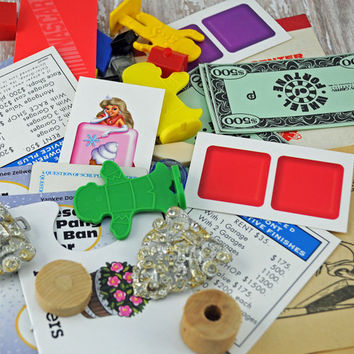 "Fun Crafting ""Grab Bag"" Bits and Pieces From Jewelry to Cartoons to Game Pieces  #201 OK"