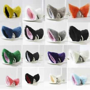Orecchiette Party's Cat Fox Long Fur Ears Anime Neko Costume Hair Clip Cosplay  QZW