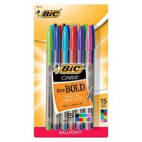 BIC Cristal Ballpoint Pen in Assorted Colors - 15ct