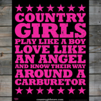 "Country Girls & Carburetor 18"" x 24"" Poster - Country Fashion Clothing"