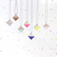 Colour Block, Hand Painted,  Laser Cut Diamond Wooden Tag/Pendant In Mint