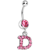 Pink Gem Letter D Initial Dangle Belly Ring | Body Candy Body Jewelry