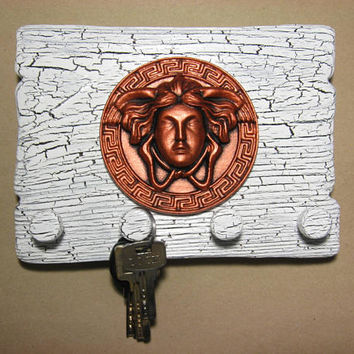 wooden wall art plaque keyholder greek medusa copper head gorgona madusa on old white shabby rustic shield for key storage