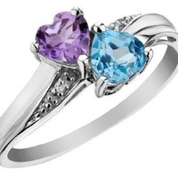 Blue Topaz and Amethyst Double Heart Ring with Diamonds 4/5 Carat (ctw) in 10K White Gold