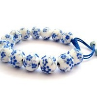 Hand Crafted Vintage Style Porcelain Flower Bird Beads Adjustable Bracelet: Jewelry: Amazon.com
