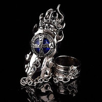 Punk Vintage Men's Knuckle Rings Set (1 set, 6 Colors Options: Dark Blue, Light Blue, Red, Black, Yellow, Purple)