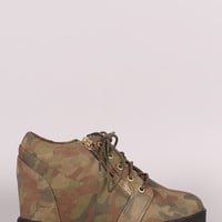 Liliana Camouflage Zipper Trim Lace Up Wedge Sneaker