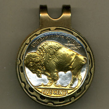 Gorgeous  2-Toned  Gold on Silver Old  U.S. Buffalo nickel - Golf Ball Marker - Hat Clips